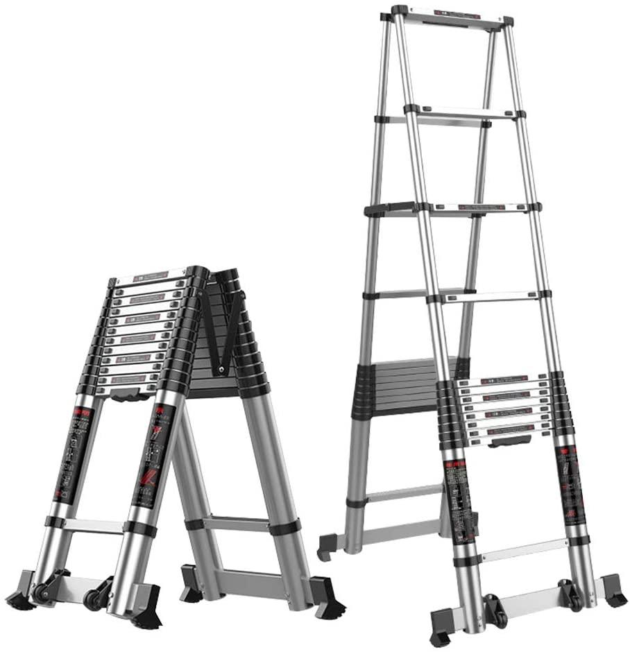 Jian E Extension Ladder Herringbone Extension Ladder, Telescopic Aluminum Ladder A Ladder Lightweight Portable Extendable Ladder Max Load 330lbs // (Size : 4.7 m/15.4ft)