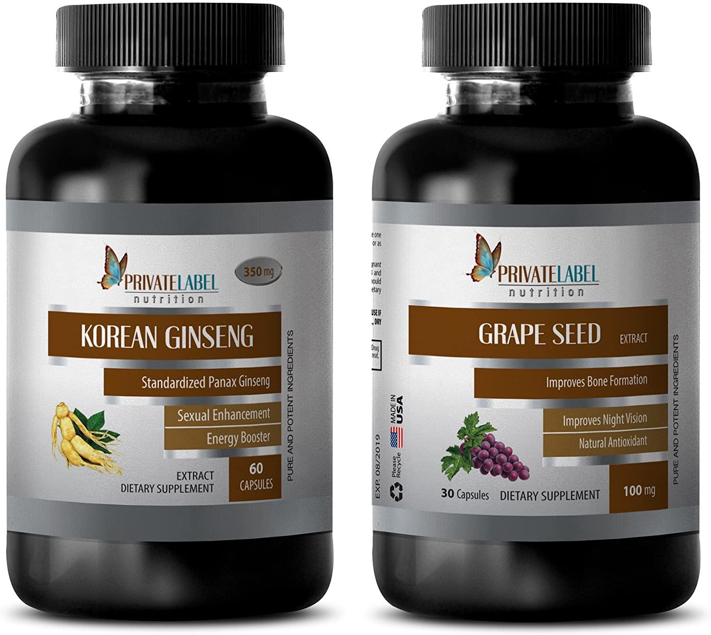 libido Aphrodisiac - Korean Ginseng - Grape Seed Extract - Combo - Grape Seed for Hair - (2 Bottles Combo)