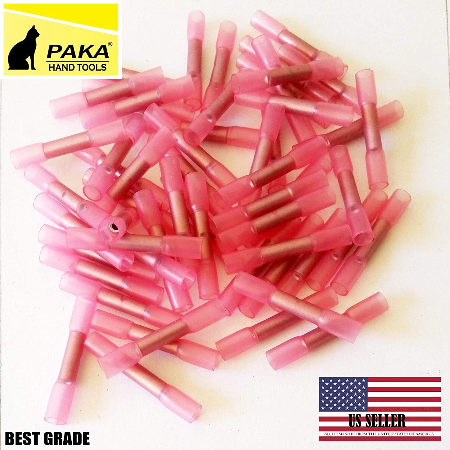 (500 PCS) RED 22-16 AWG Heat Shrink Butt Wire Crimp Connector Electrical Terminal
