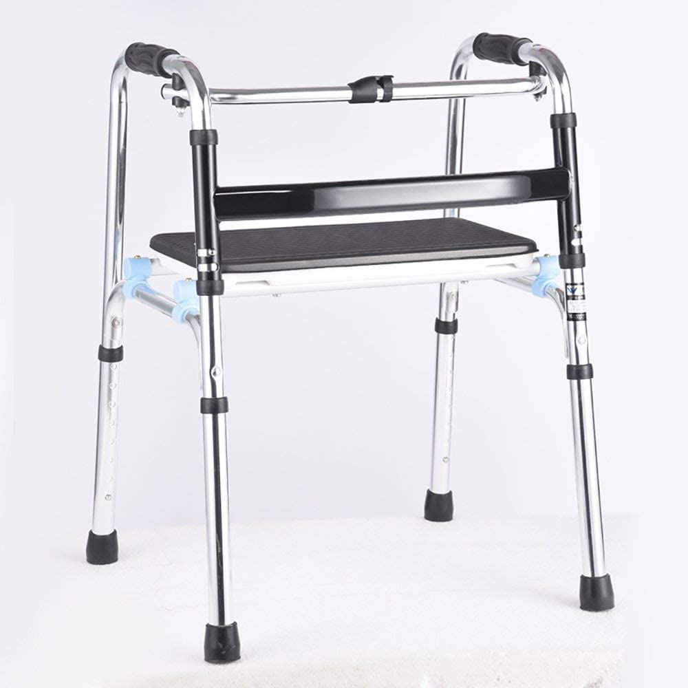 HTLLT Walking Aid Medical Instruments Seniors Walker/Handrail Support/Old Man Walker/Walking Assistance/Walking Stick Chair with Seat Collapsible Adjustable Height Sier:55 48(69-89) cm