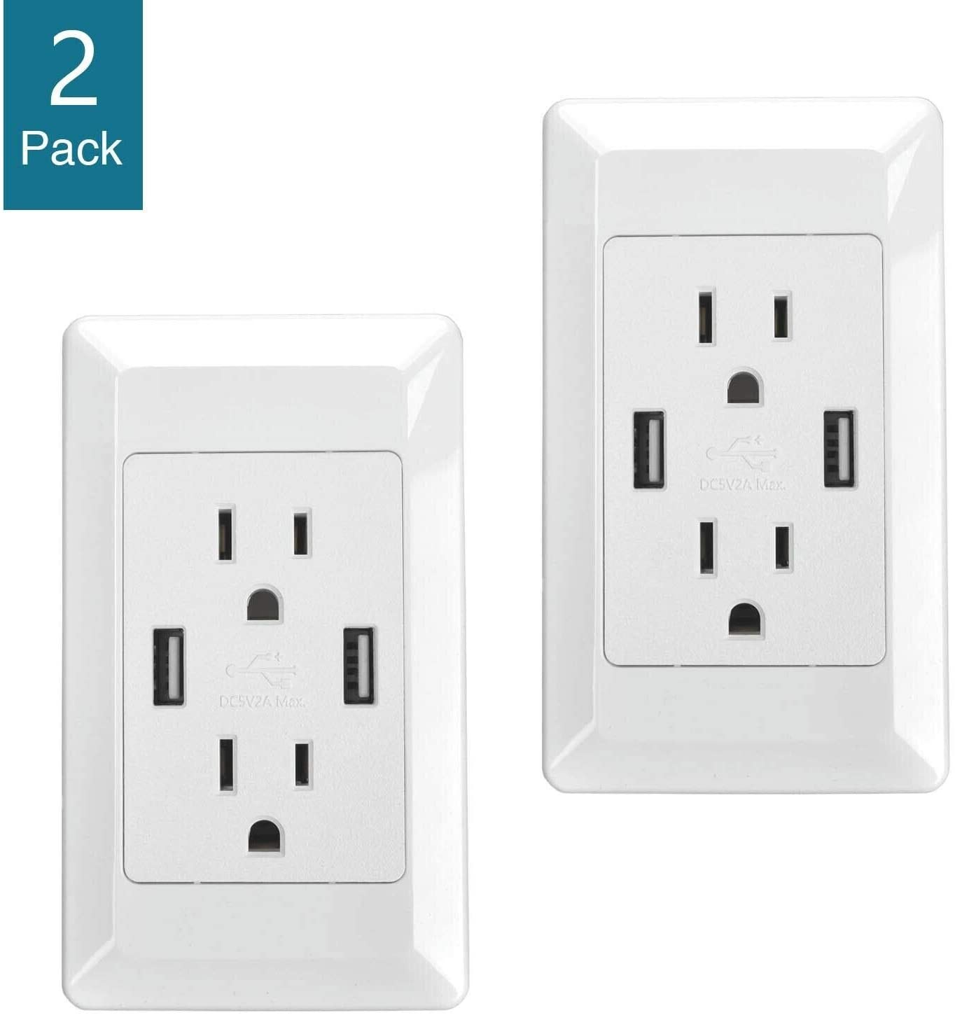GREENCYCLE 2 Pack 2A Smart Dual USB Chrger Wall Plate Plug Outlet Socket Electrical Switch Outlet Chrging Receptacle White Adapter (ETL Listed)