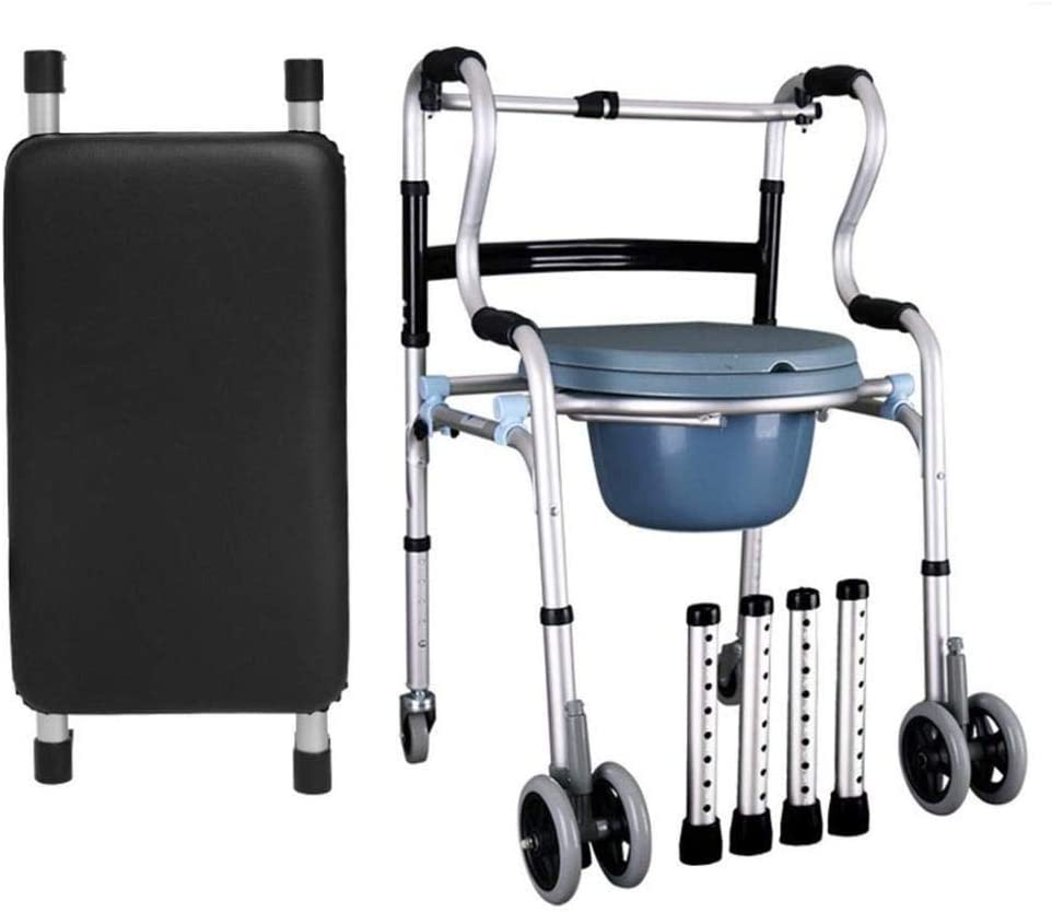 HTLLT Walking Aid Medical Instruments Standing Adjustable Height Walker Folding Commode Chair, Over Toilet and Bedside Commode Medical Walking Mobility Aid for Elderly Seniors, Disabled,C