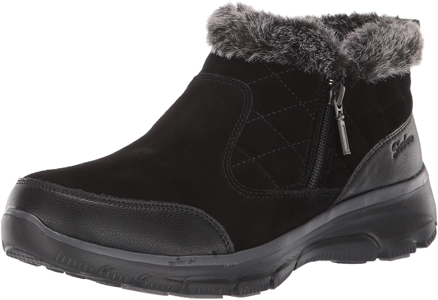 Skechers Women's Easy Going-Girl Crush-Quarter Zip Quilted Bootie Ankle Boot