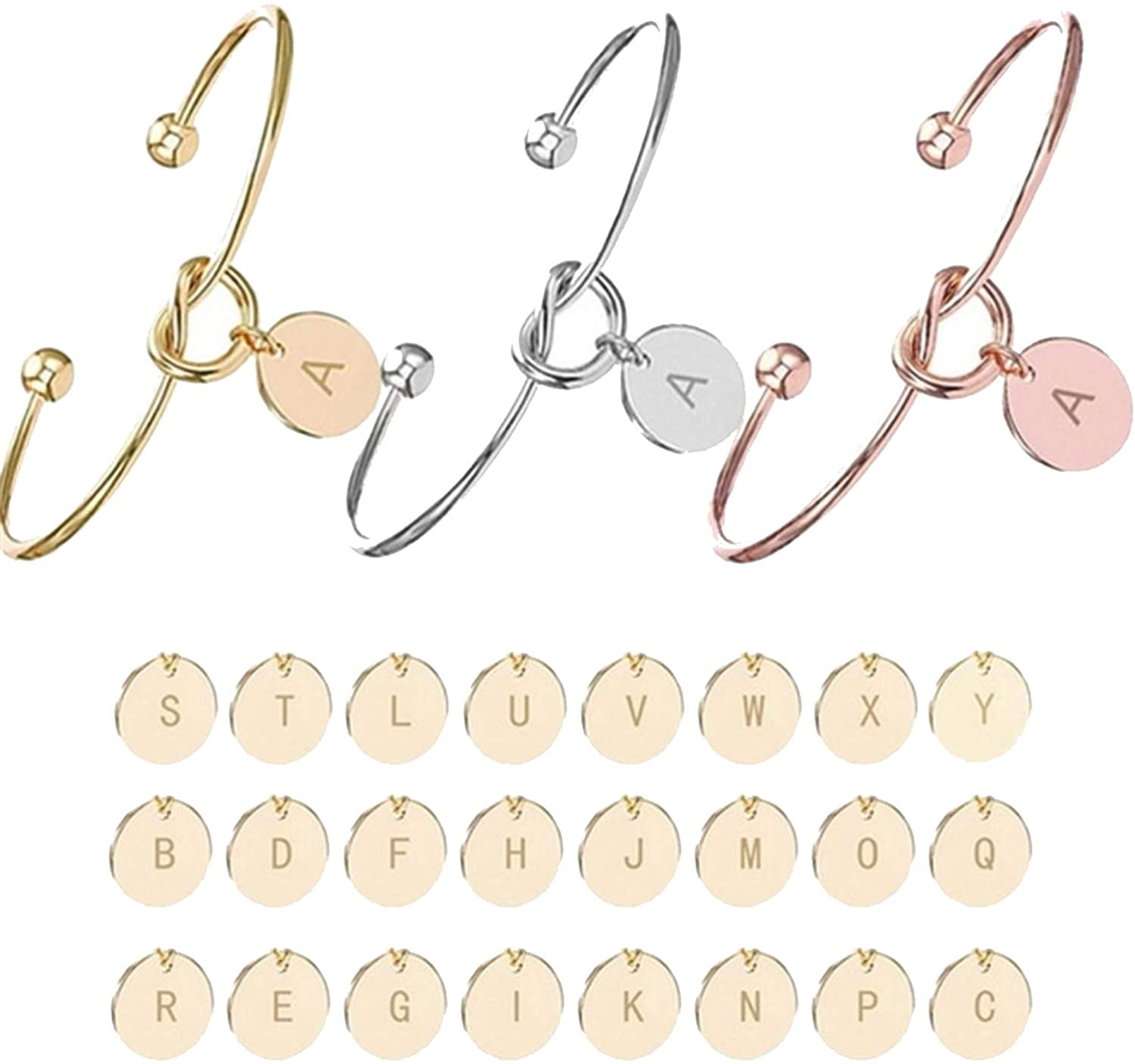 Personalized Knot Initial Bracelets Bangles A Z 26 Letters Initial Charm Love Bangle for Women Jewelry Pulseiras Gift,M,silver