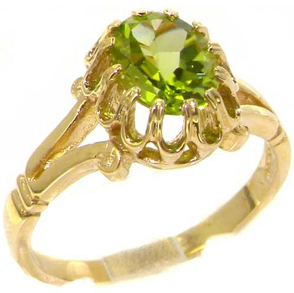 Solid 18k Yellow Gold Natural Peridot Womens Solitaire Ring - Sizes 4 to 12 Available
