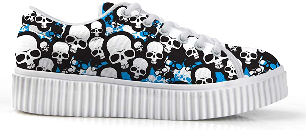 Zzjsstore Design Low Shoes 3D Printed Skull Patterned Low Shoes are Suitable for Women's Leisure