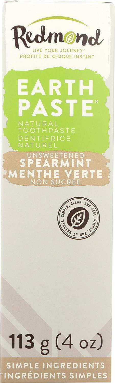 REDMOND - Earthpaste All Natural Non-Fluoride Vegan Organic Non GMO Real Ingredients Toothpaste, Spearmint, 4 Ounce