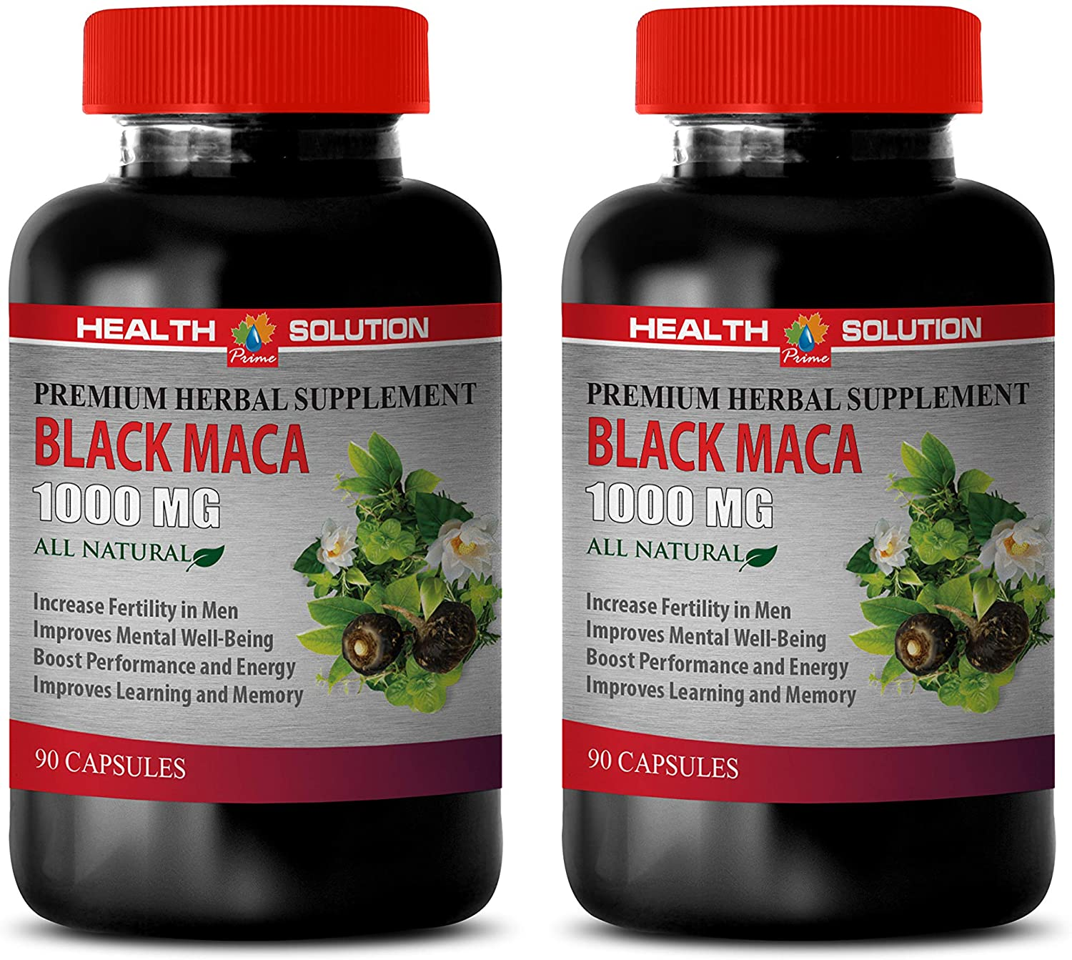 Male Energy Supplements - Black MACA 1000 MG - Premium Herbal Supplement - maca Root Extract Complex - 2 Bottles 180 Vegetable Capsules