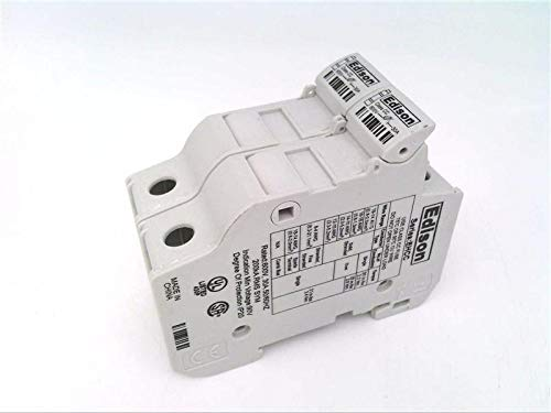 EDISON FUSE EHCC2DU-6 2-Pole, 18-4 AWG Copper ONLY, 35MM DIN Rail Mount. Package of 6, 30A, Edison Modular Fuse Holder, Integral Pressure Plate with Separate Spade Connection, 600V, Accepts Class CC