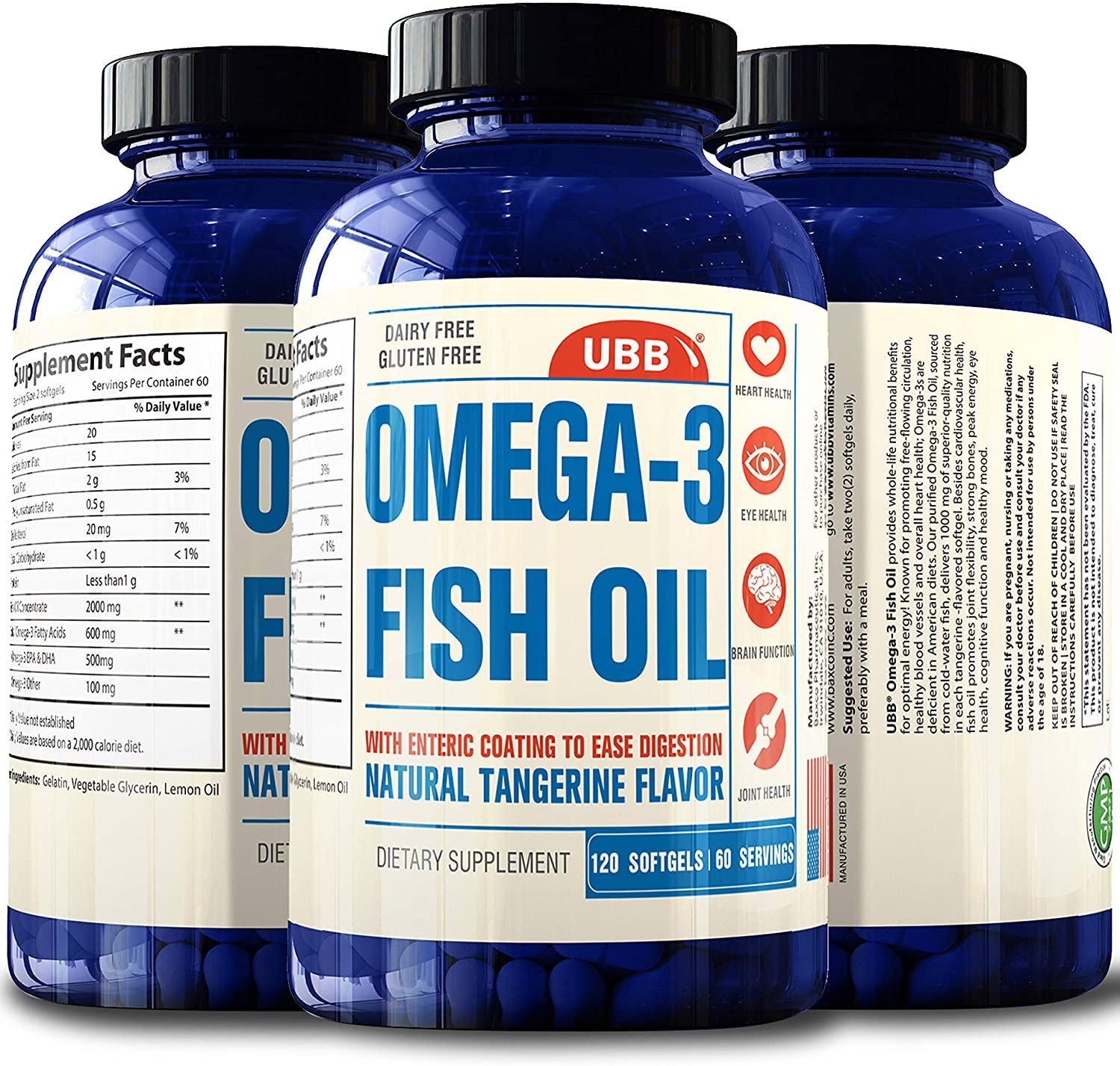 Omega 3 Fish Oil Extra Strength, Burpless - 2600mg Combination of The Best and Original NSF-Certified Pharmaceutical Grade Pills - Joint Support, Immune, Heart Health, Brain, Eyes, Skin (120 Count)