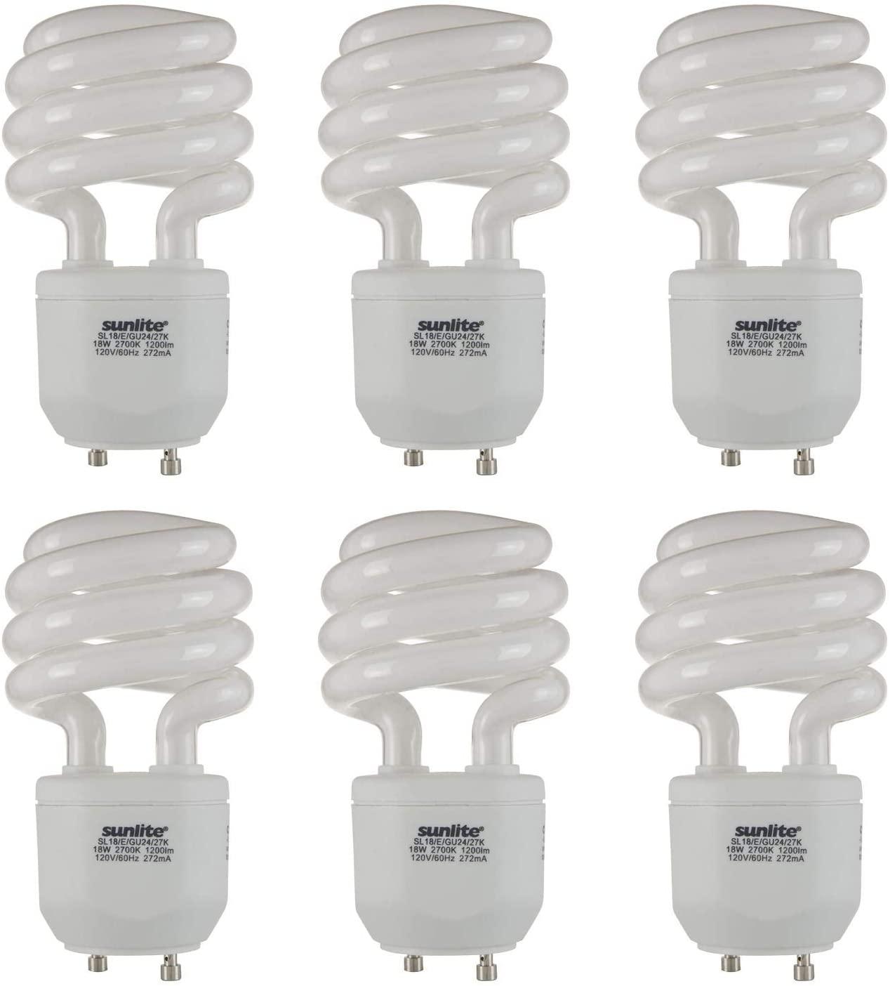 Sunlite 41154-SU Compact Fluorescent T2 Spiral Standard Household Energy Saving CFL Light Bulb, 18 Watt, (75W Eqivilant) GU24 Base, 27K-Warm White, 6 Pack