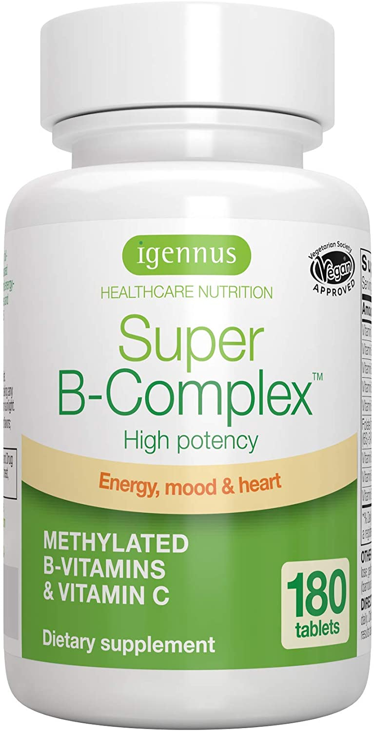 Super B-Complex – Methylated Sustained Release B Complex & Vitamin C, Folate & Methylcobalamin, Vegan, 180 Small Tablets