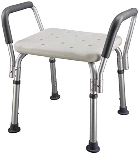 Shower Stool Foam Armrest Breathable Seat, Height Adjustable Lightweight Shower Stool Aluminum Alloy Main Frame with Handles for Elderly Disabled Etc 0417