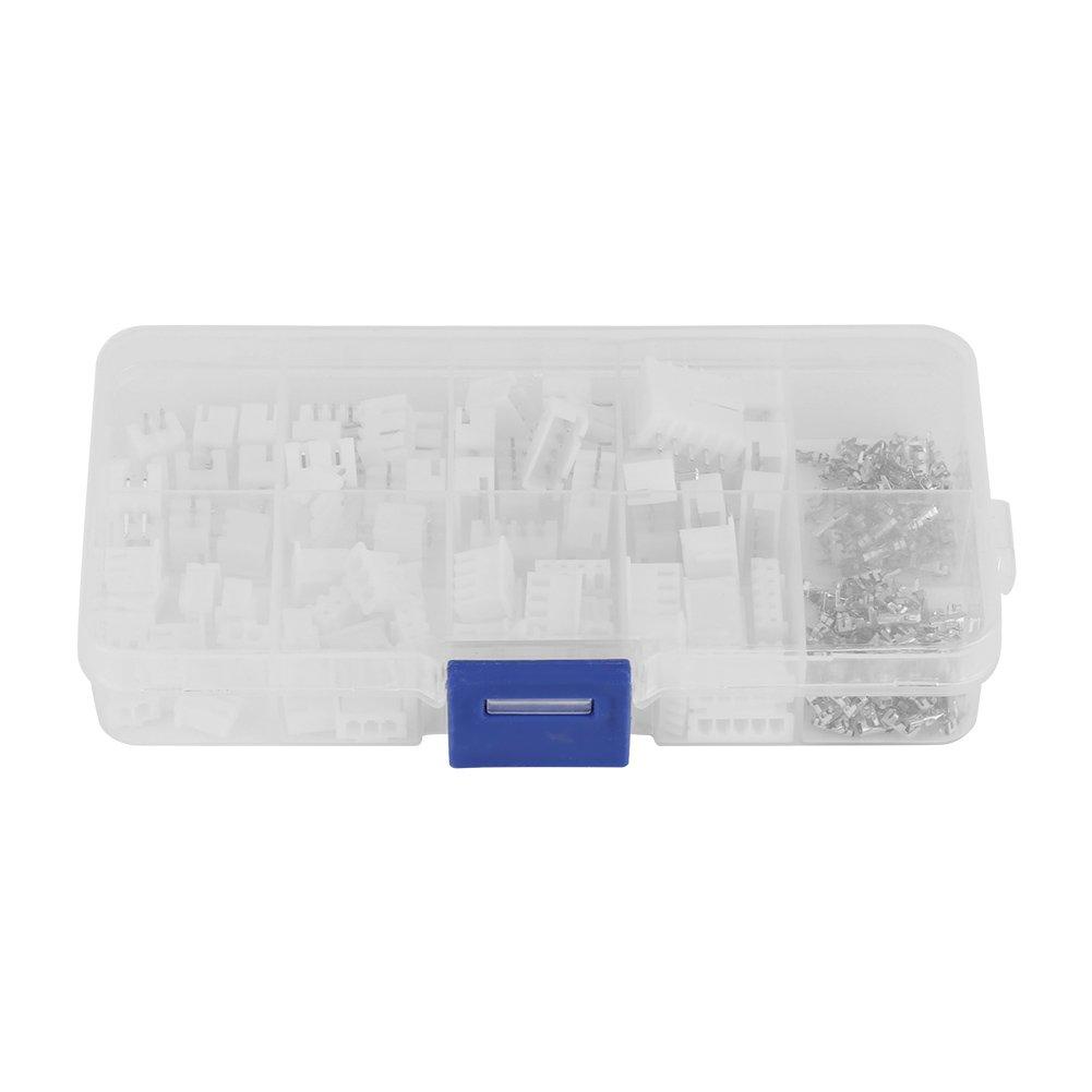 150 Pcs Terminal Connectors, 40 Sets Kit 2p/3p/4p/5 pin 2.54mm Pitch Terminal + Housing + Pin Header Connector White