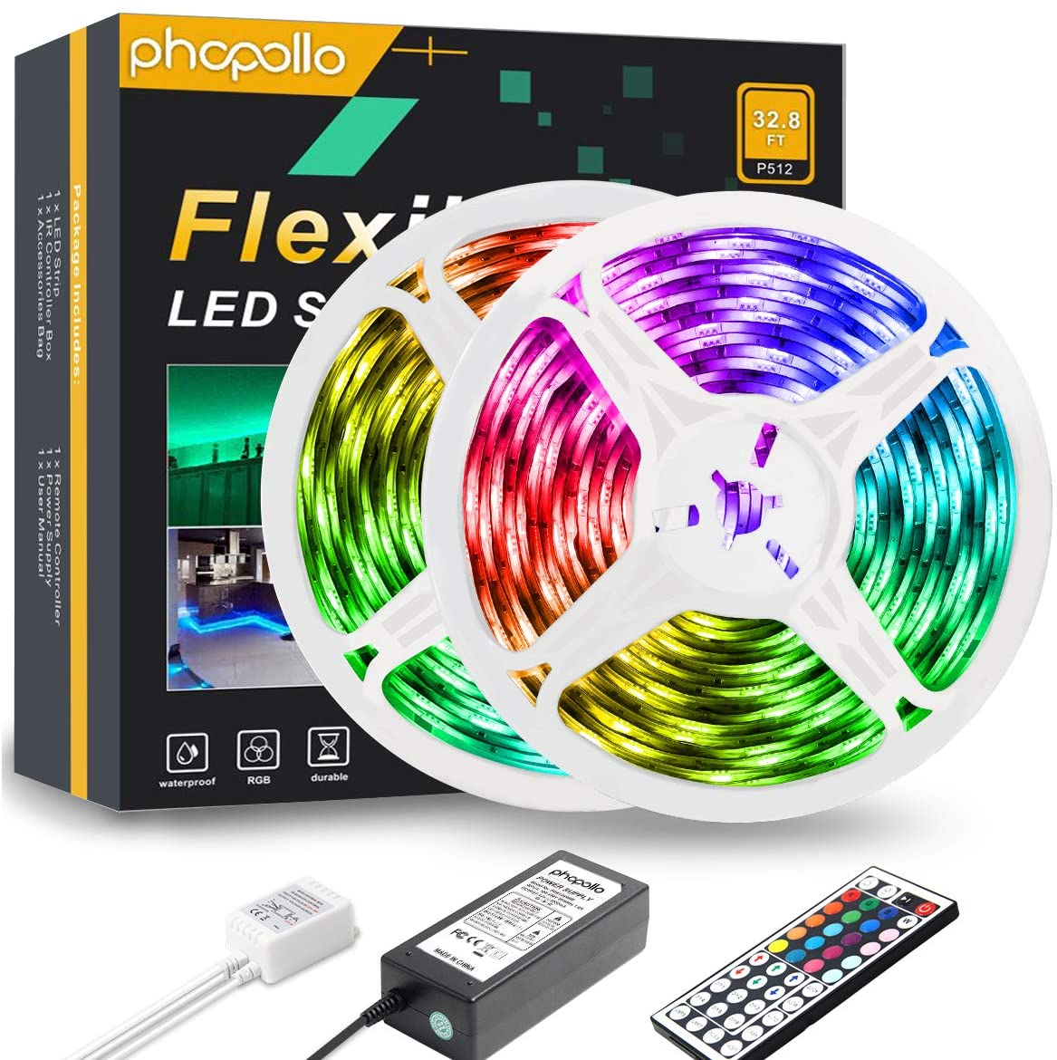 PHOPOLLO LED Strip Lights, 32.8FT Waterproof 5050 300LEDs RGB Flexible LED Lights for Bedroom with 44-Key IR Remote Controller and 12V Power Supply, Ideal for House and Holiday Decoration