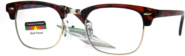 Half Horn Rim Hipster Multi 3 Focus Progressive Reading Glasses