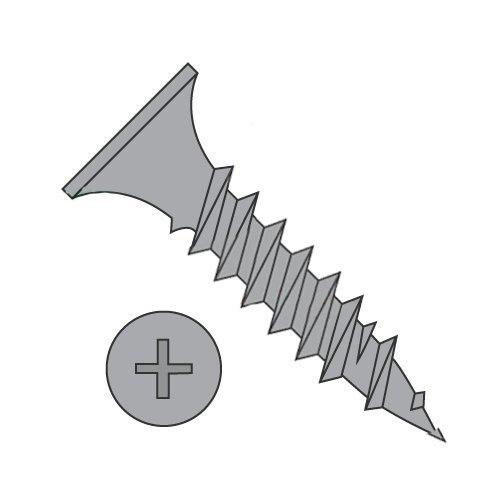#8 x 2 Fine Drywall Screws/Phillips/Bugle Head/Steel/Black Phos (Carton: 2,000 pcs)