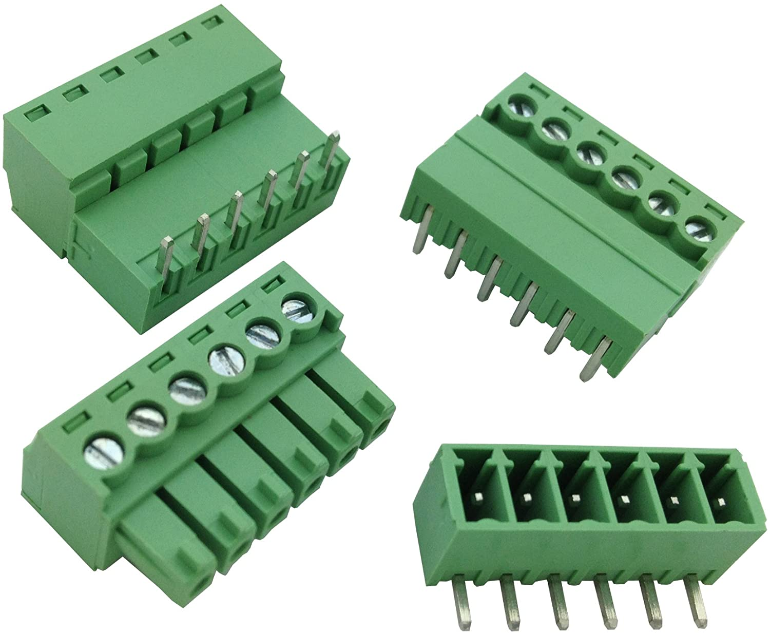 200 Pcs Pitch 3.81mm Angle 6way/pin Screw Terminal Block Connector w/Angle Pin Green Color Pluggable Type Skywalking