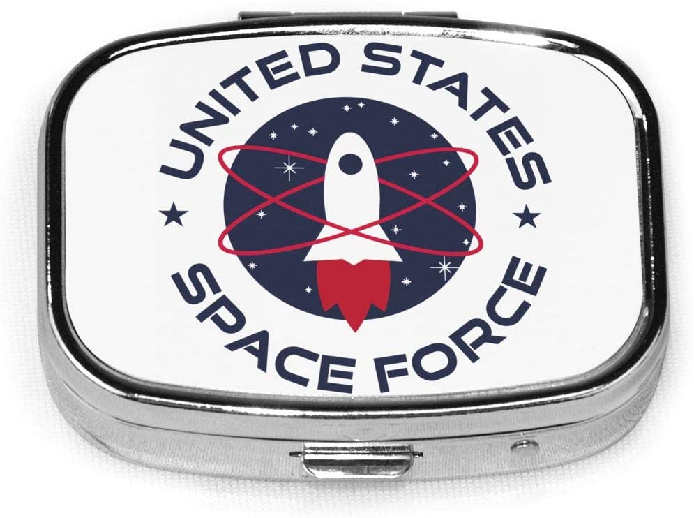 Wehoiweh United States Space Force 2.2x1.6x0.7 Inch Mini Medicine Box, Full Size Printing is Easy to Carry