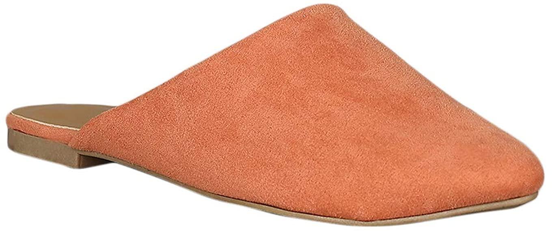 Alrisco Women Faux Suede Asymmetric Pointy Toe Mule Flat Sandal RD88