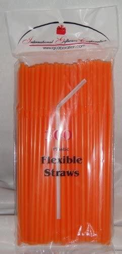 IGC 100 Straws - Flex/Flexible Drinking Straws - Luau - Wedding - Party - Orange - 100 Flexible Straws