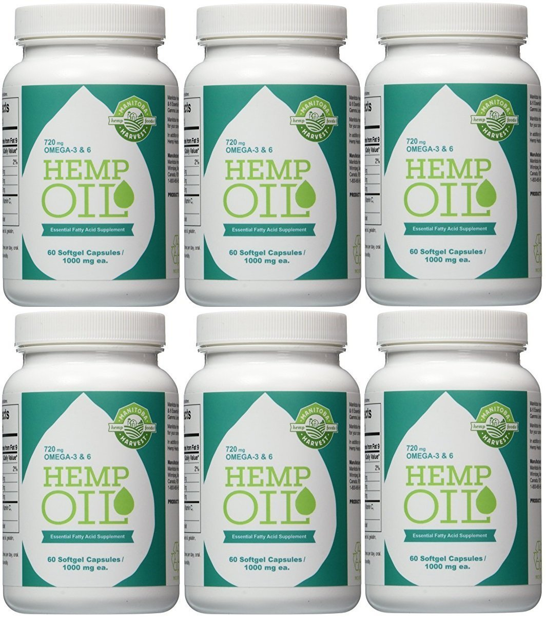 Manitoba Harvest Hemp Oil, 1000Mg, 60 Softgels(Pack of 6)