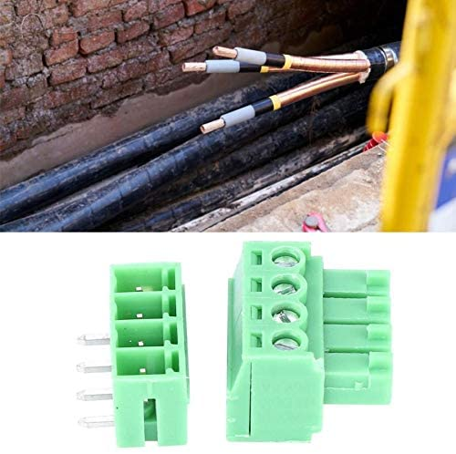Davitu Terminals - 10 Set 4-Pin Screw Wiring Terminal Block 15EDG 3.81mm Pitch Male Female Pluggable Terminals