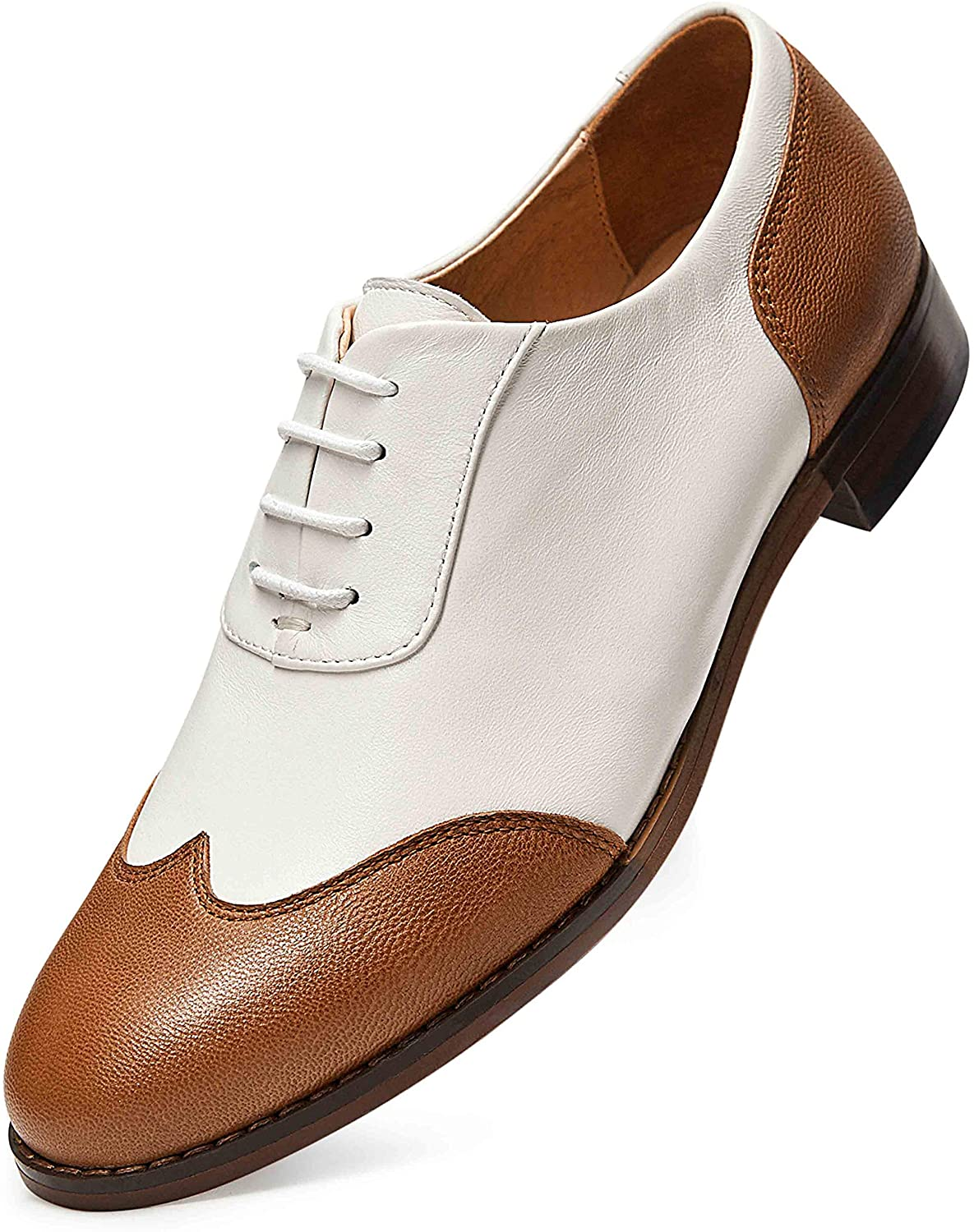 FRASOICUS Women's Oxfords Brogue Leather Wingtip Lace up Flats Formal Wedding Dress Shoes for Girls Ladies