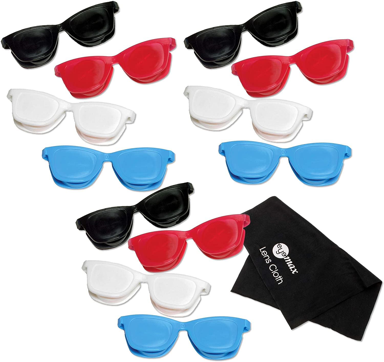 Sunglass Flip Top Contact Lens Case (12 Pack Disposable) Assorted Colors