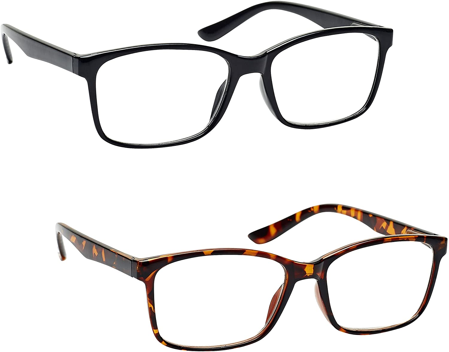 The Reading Glasses Company Black & Brown Tortoiseshell Readers Value 2 Pack Large Mens Spring Hinges RR83-12 +1.25