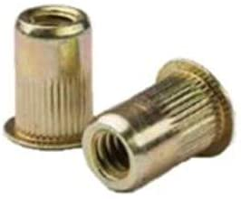 CAL2-0832-080, RIVETNUT, 8-32 (.020-.080 GR) RND Body Splined, LG FLNG HD, Steel, Zinc YLW (100 PK)