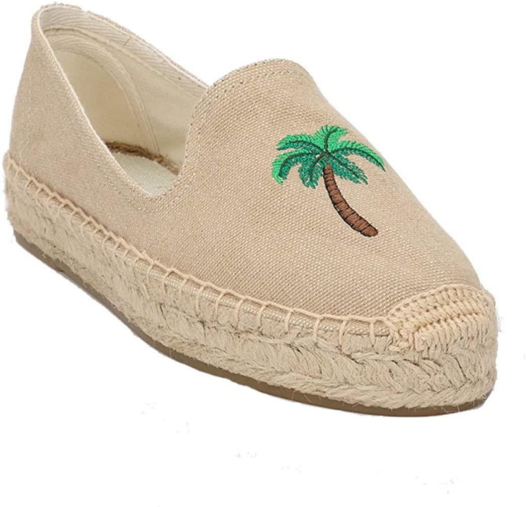 ODOKAY Women's Slip-on Espadrilles Platform Loafers Canvas Shoe Casual Breathable Knit Flat Walking Shoes