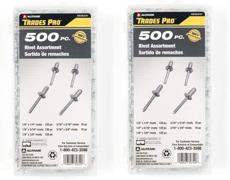 Tradespro 836341 Aluminum Rivet Assortment, 500-Piece, Multiple Sizes (1, Twо Pаck)