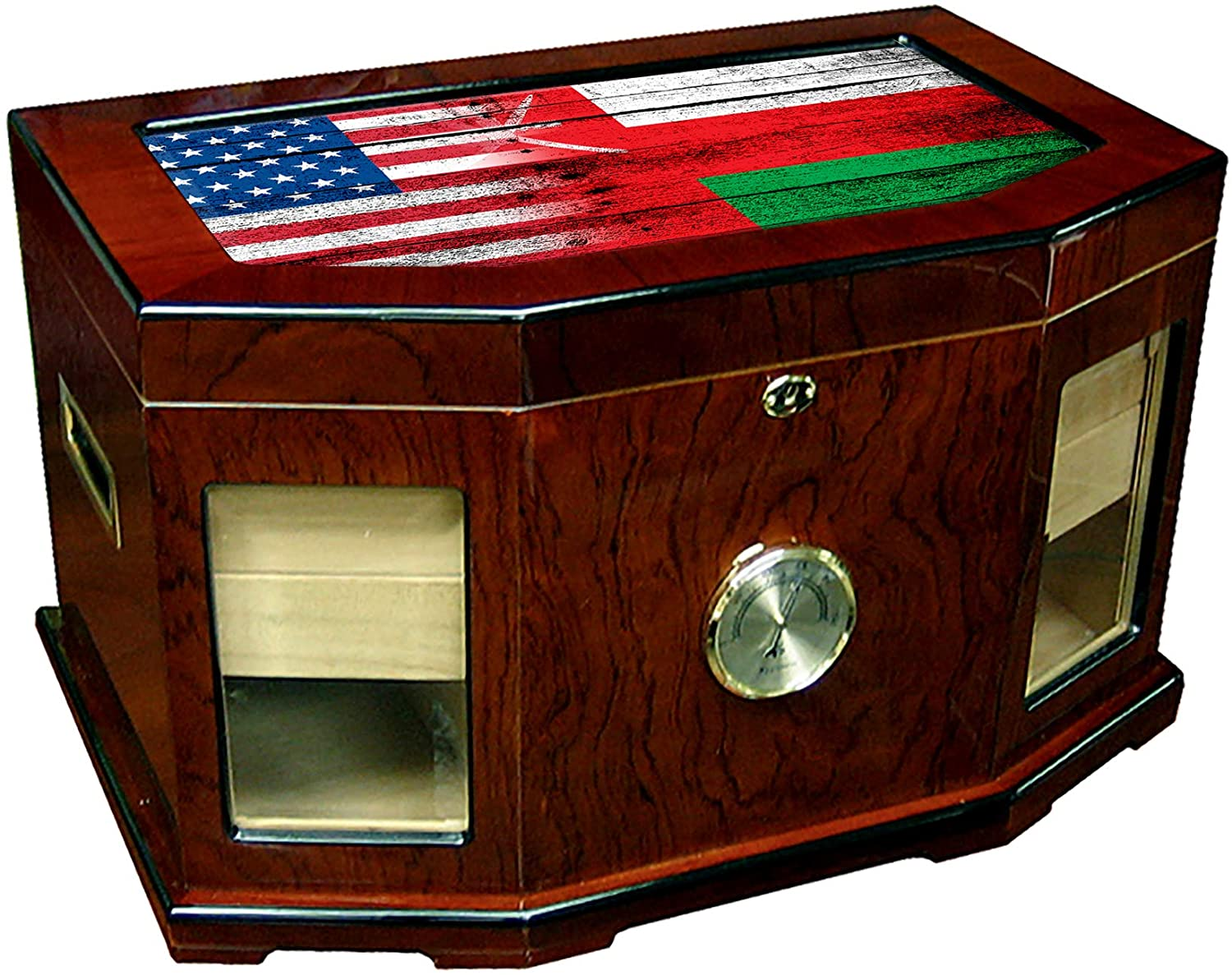 Large Premium Desktop Humidor - Glass Top - Flag of Oman (Omani) - Wood with USA Flag - 300 Cigar Capacity - Cedar Lined with Two humidifiers & Large Front Mounted Hygrometer.