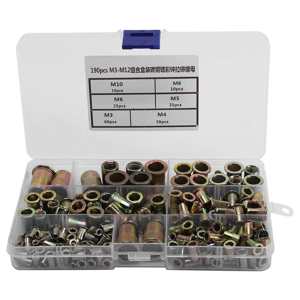 Fictory Flange Nut - 190Pcs Carbon Steel Flat Threaded Rivet Nut Flange Nutsert Fastener Rivnut Repair Tool Accessory