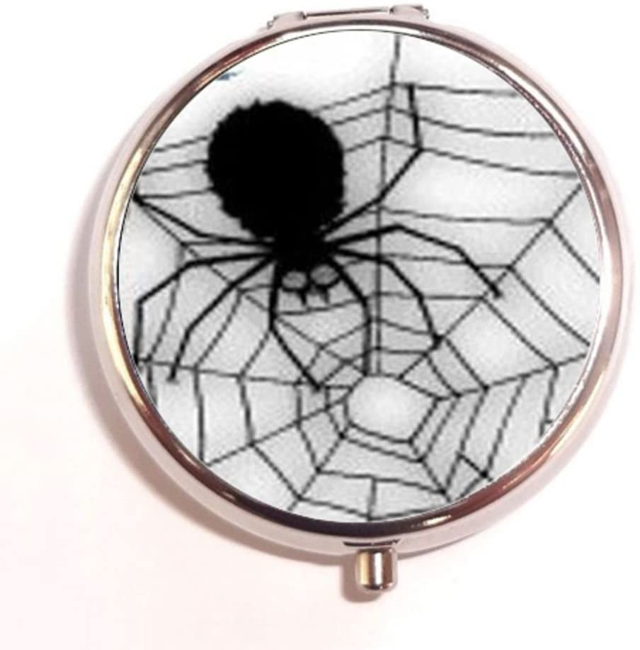 Halloween Black Widow Spider Web Custom Unique Silver Round Pill Box Medicine Tablet Organizer or Coin Purse