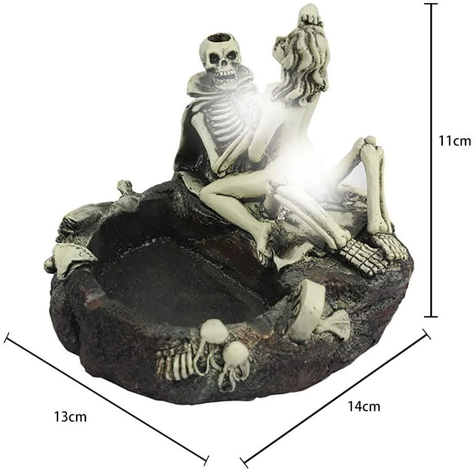 MIMEI Retro Ashtray Halloween Skeleton Head Skull Style Resin Simulation Head Ashtray for Car Creative Pirate Skull Decoration Home Furnishing Decoration Tobacco Weed Ashtray (White, 11 X 14 X 13 cm)