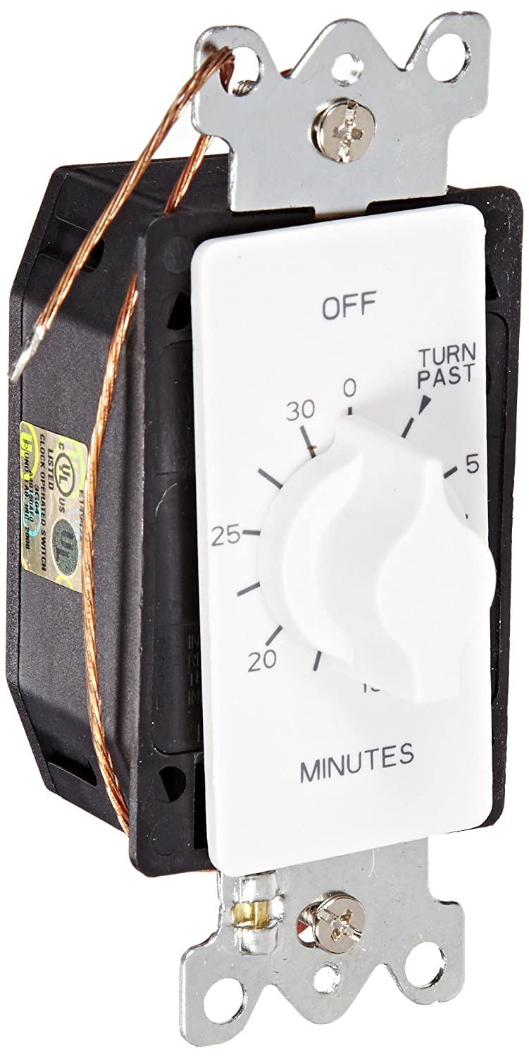 NSI Industries TORK A530MW in-Wall Spring Wound 30-Minute Mechanical Interval Timer Switch - for Indoor/Outdoor Lighting and Fans - Automatic Off - White