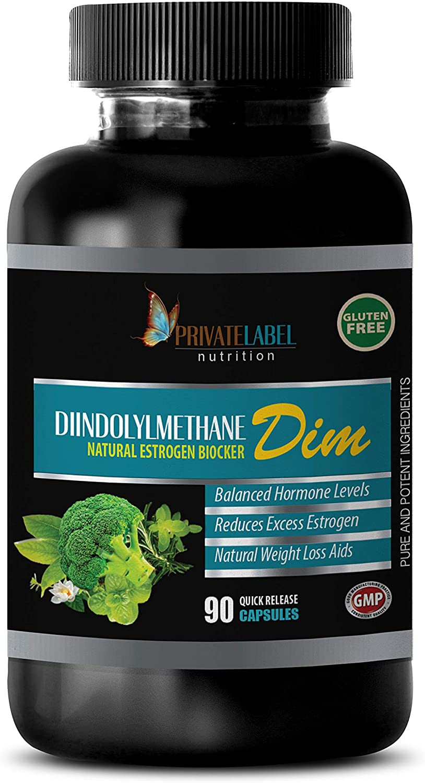 Metabolism Booster for Weight Loss - DIINDOLYLMETHANE DIM - Natural Estrogen Blocker - dim Supplement Testosterone - 1 Bottle 90 Capsules