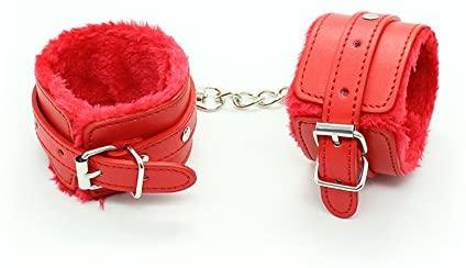 Premium Red Furry Bondage Wrist Restraints Handcuffs for Sex