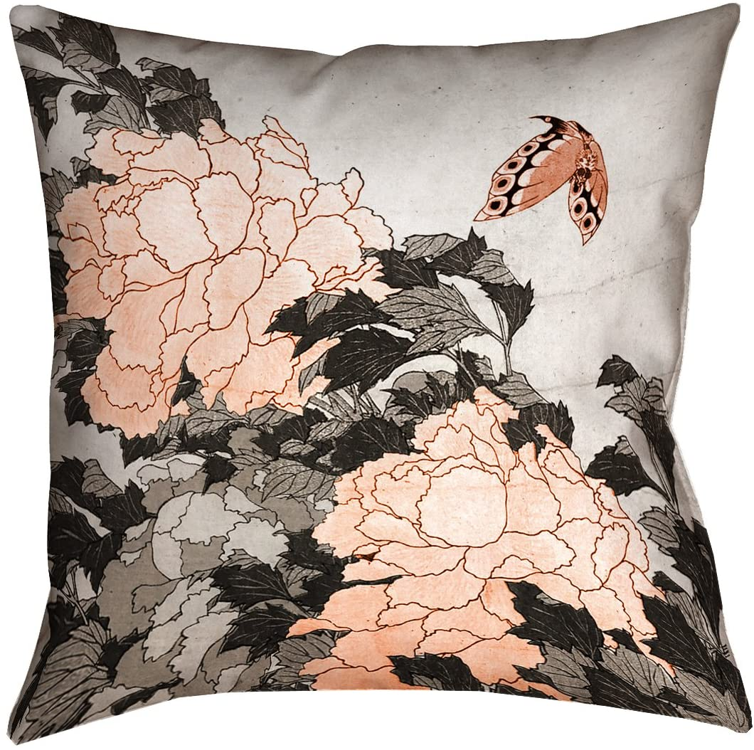 ArtVerse HOK056P1818F Peonies & Butterfly with Orange Accents Pillow, 18