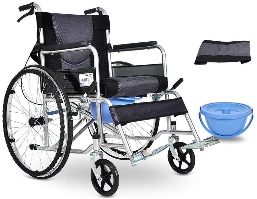 JN Shower seat Wheelchair with Commode, Foldable Bedside Commode Toilet Chair, Disabled Scooter, Detachable Cushion, for Adults, Handicap, Elderly Wheeled Non-Slip Toilet Chair (Size : Gray)
