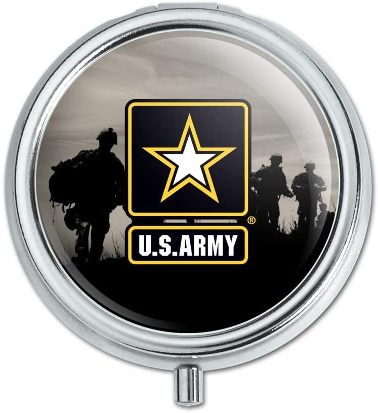 U.S. Army Logo with Soldier Silhouettes Pill Case Trinket Gift Box