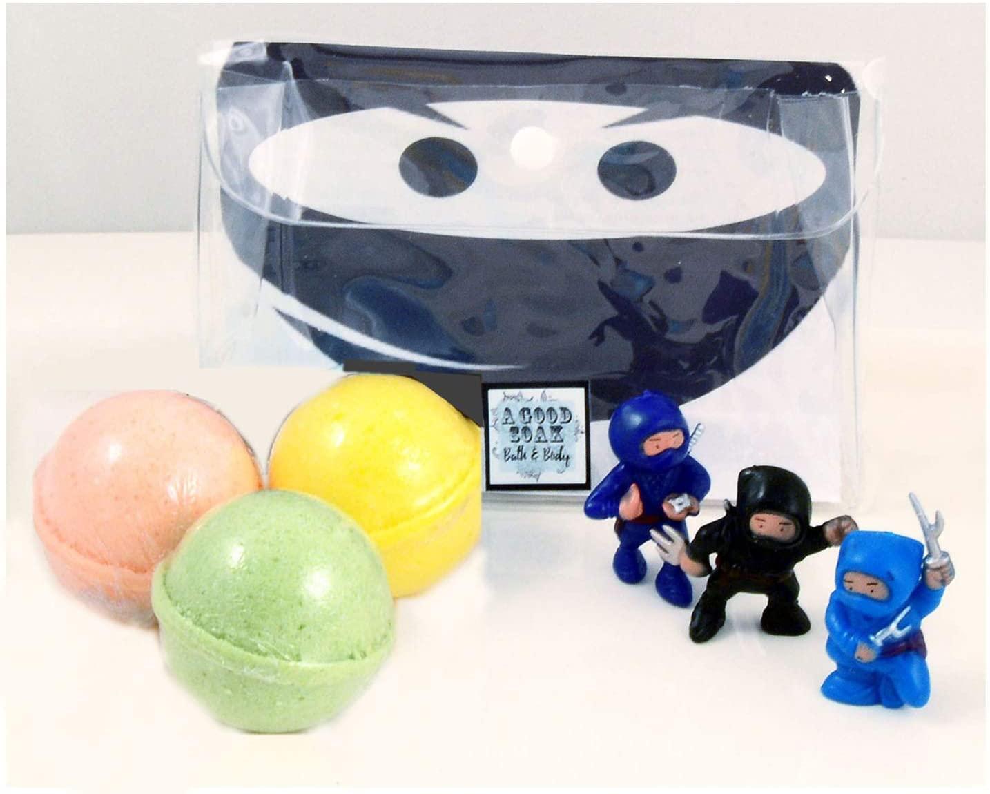 New Kids Trio Bath Bombs with Ninja Bath Toys - Fresh Aromas Plus Color Therapy Gift Sets