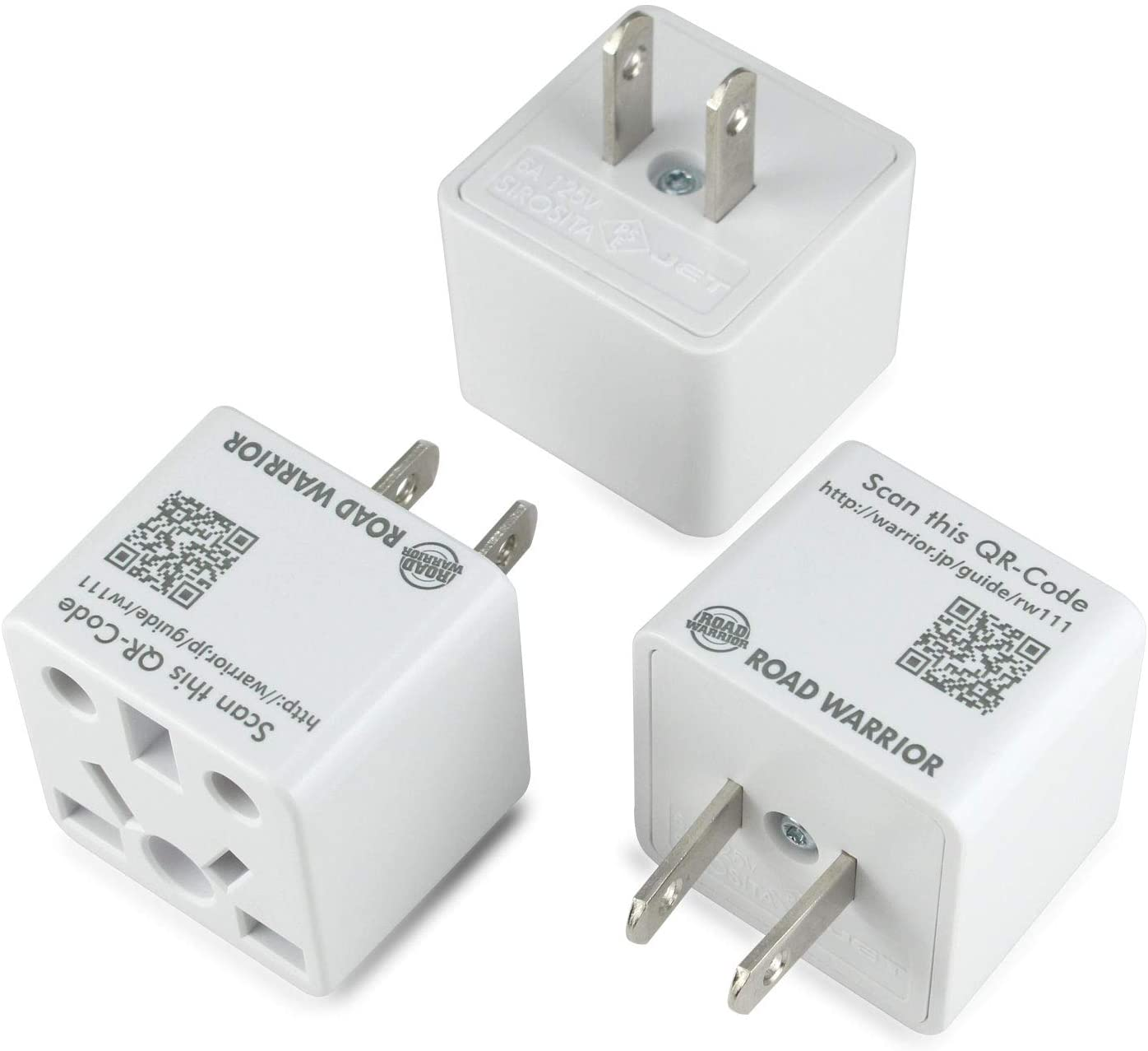 [3 Pack] ROAD WARRIOR US Travel Plug Adapter Euro/UK/China/Australia/India to USA (Type A) 6A - RW111WH-US