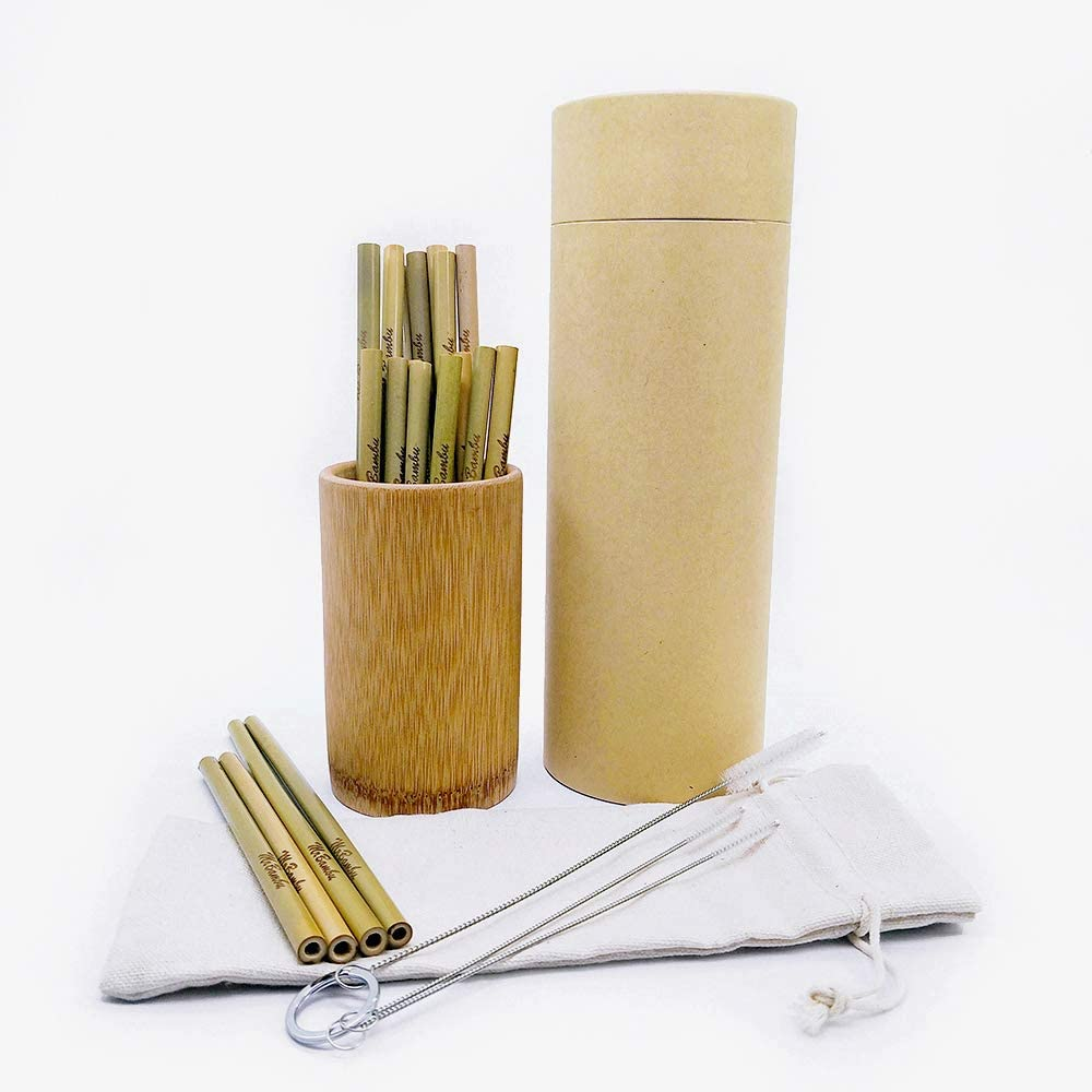 20 Straws (10 Long + 10 Short) in a Bamboo Dispenser; Cleaning Set & Travel Bag INCL. No Plastic