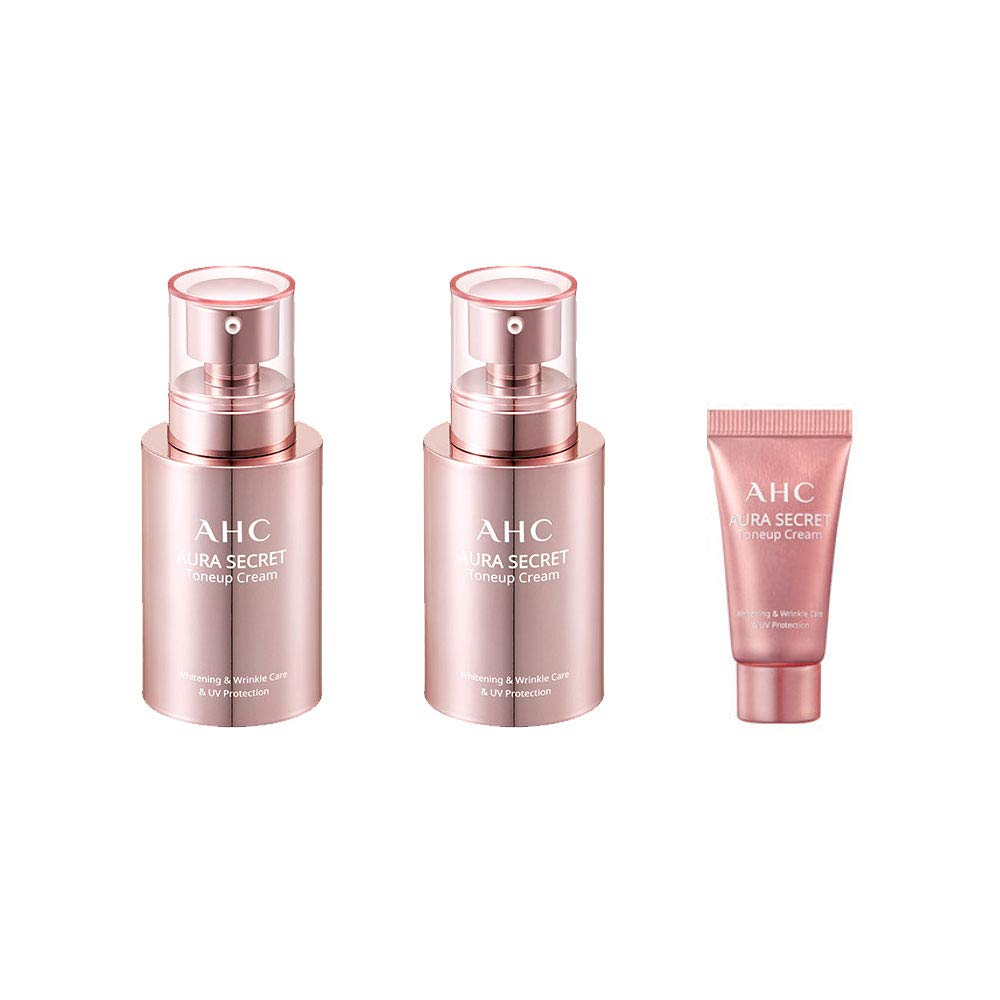 AHC Aura Secret Tone up Cream (50g x 2, 10g) Brightening + Wrinkle Care + UV Protection SPF30/PA++
