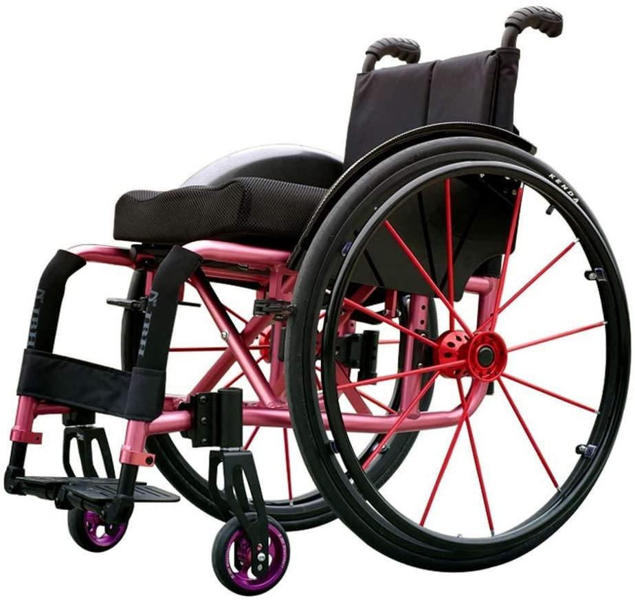 BXZ Wheelchair Sport Lghtweight Folding Ergonomic Comfortable Armrest Swing Leg Rest 100Kg Load Bearing 42 X 42Cm Seat,Outdoor Sports,12Kg,White
