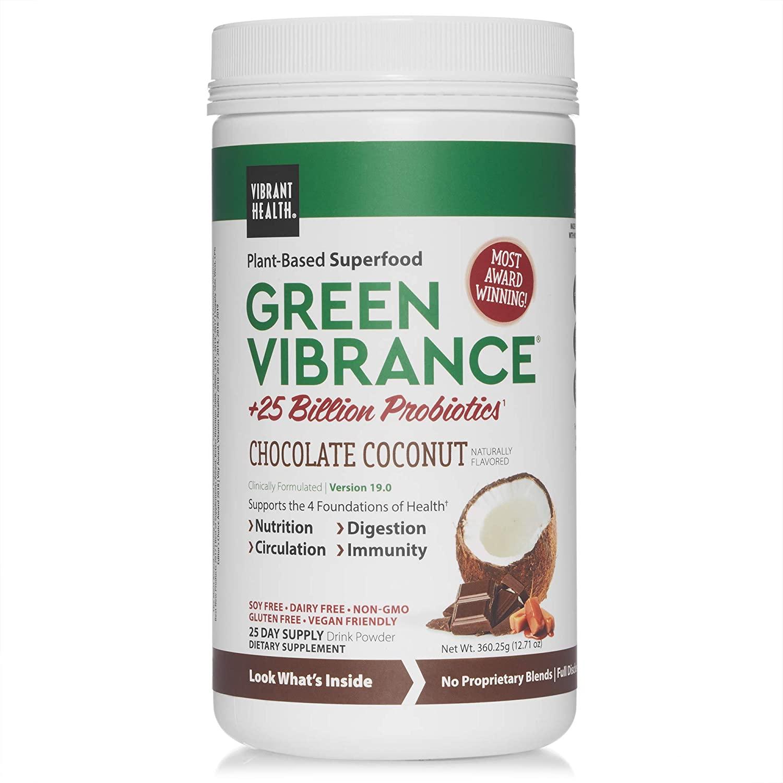 Vibrant Health, Green Vibrance Chocolate Coconut, Plant-Based Superfood Powder, Vegan Friendly, 25 Servings