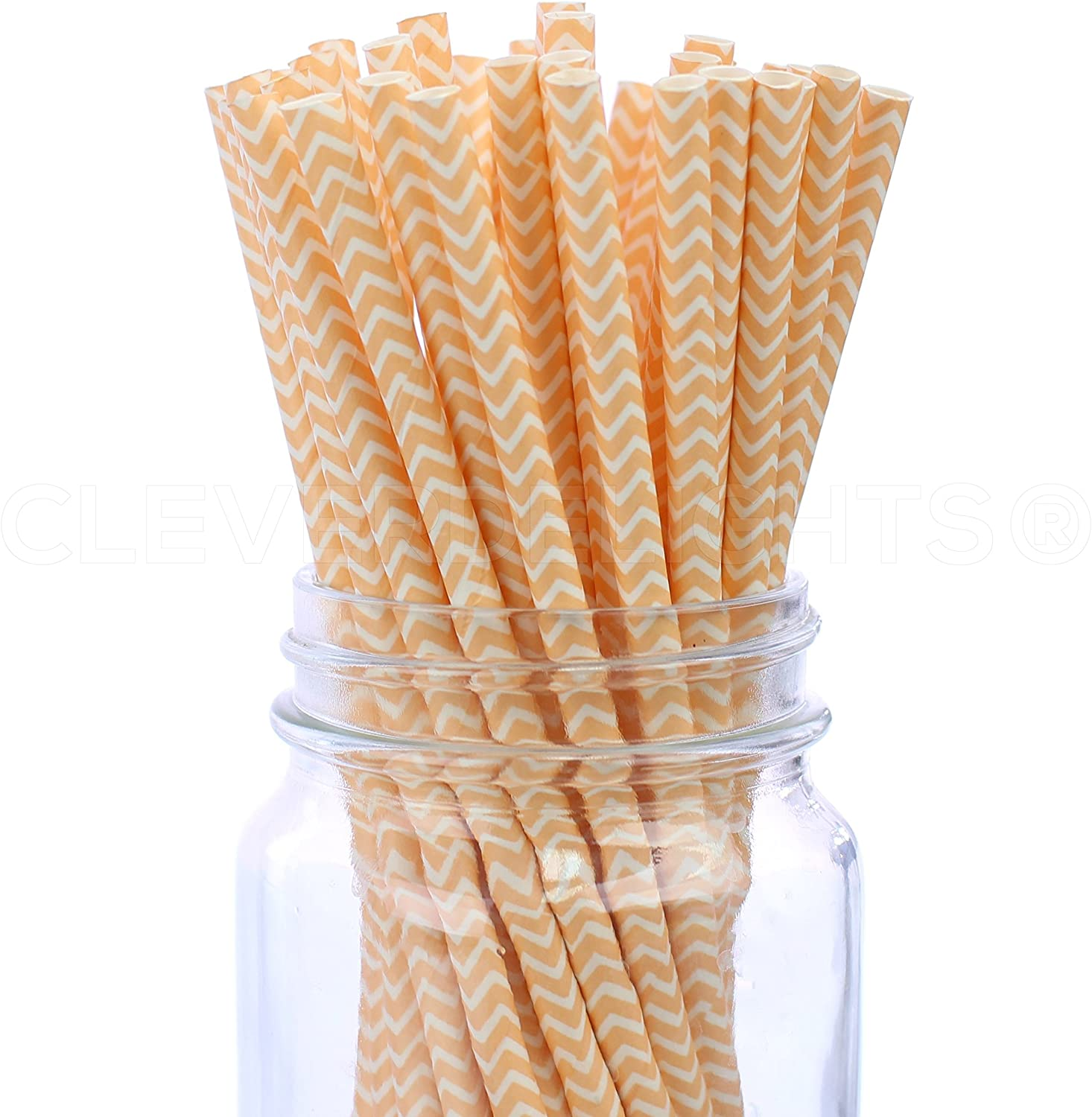 CleverDelights Biodegradable Paper Straws - Peach Chevron - Box of 50